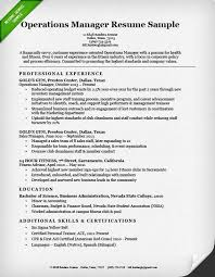 resume objectives for managers operations manager resume sample resume genius