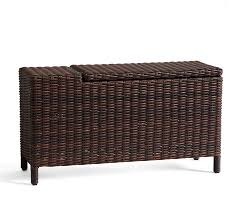 torrey all weather wicker sectional storage side table espresso pottery barn