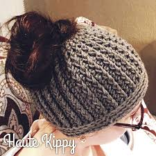 Free Crochet Pattern For Messy Bun Hat Mesmerizing Haute Kippy Gina Messy Bun Hat