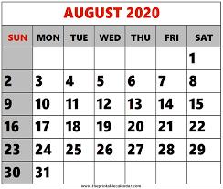 August 2020 Printable Calendars