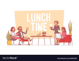 Citizen office concept Vitra Citizen Homegramco Lunch Time In The Office Lineart Concept Vector Image