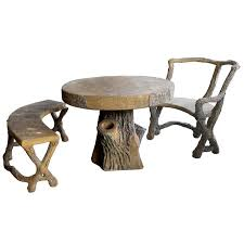 three piece french faux bois concrete garden set with table bench