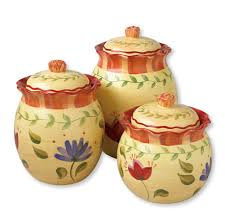 Yellow Canister Sets Kitchen Pfaltzgraff Napoli 3 Piece Sealed Canister Set Kitchen Storage