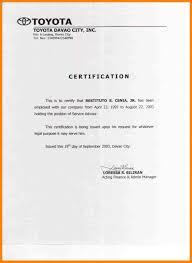 Employment Certification Letter Filename Infoe Link