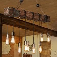 Rustic Wood Light Fixtures Details About Retro Rustic Industrial Chandelier Farmhouse Wood Pendant Light Hanging Fixtures