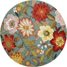 nourison fantasy aqua round indoor handcrafted area rug common 7 x 7 actual