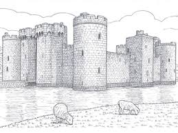 A large castle surrounded by water. Great Castles Coloring Book