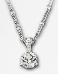 lyst swarovski round solitaire crystal pendant necklace in metallic
