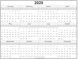 2020 Year Calendar Yearly Printable