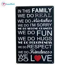 Quote Plaques Extraordinary Vintage Metal Signs Quote Family Love Decorative Metal Poster Plaque