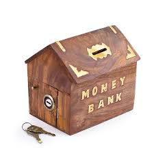 rusticity wooden coin bank 6 in x 55