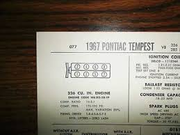 Details About 1967 Pontiac Tempest Series Ho 326 Ci V8 4bbl Sun Tune Up Chart Great Condition