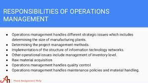 operations management assignment help 5 responsibilities of operations management