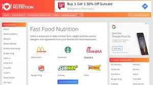Nutrition Charts For Restaurants Fast Food Nutrition Facts Reviews 1 Review Of