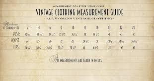 Vintage Size Chart Bombshell Bettys Vintage