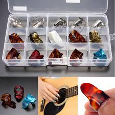 15pcs Multicolor Stainless Steel <b>Celluloid Thumb Finger Guitar</b> ...