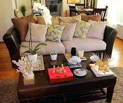 White leather coffee tables Elegant Round Coffee Table Centerpiece Ideas Leather Coffee Table Decorating Ideas With Small White Potted Plants Also Orchid Flower Coffee Table Decorations Modern Pinterest Coffee Table Centerpiece Ideas Leather Coffee Table Decorating Ideas