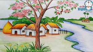 1280x720 how to draw a scenery of nature scenery drawing village scene