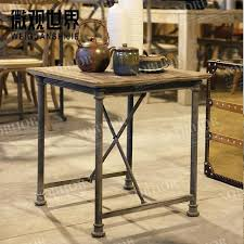 wrought iron side table. Wrought Iron Side Table Loft Country Style Wood Furniture Retro Mining Washed White Coffee W