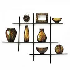 on wall art shelf with metal wall art shelves bowls and vase