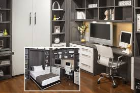 guest room and home office combo with murphy beds for basement remodel