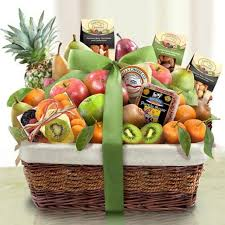 aa4081 paradise tropical fruit nuts and cheese basket