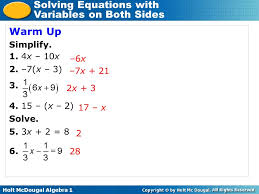 solving equations with variables on both sides 2 warm