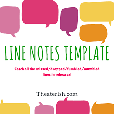 Line Notes Template Line Notes Template Theatre Education Notes Template Teaching