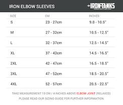 Elbow Sleeve Size Chart Iron Knee Elbow Sleeve Sizing Iron Tanks