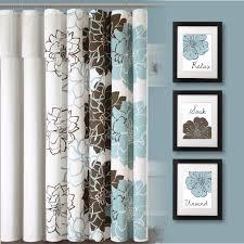 bathroom ideas blue and brown fl print bathroom curtain square flower frame wall art blue