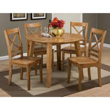 Jofran Simplicity 5pc Round Drop Leaf Dining Table Set Table In Honey