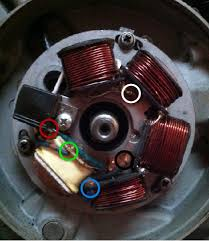 modern vespa yes yes another stator wiring question so the new stator has 5 wires coming out i ve circled the wires the respective colors and these are the 5 wires that come out of the engine case top