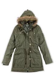 womens military style parka jacket with faux fur hood in sizes 8 16 repeat customer
