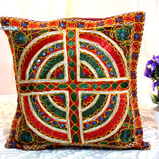 Wholesale embroidered and mirror work Hand embroidery designs cushion cover  decorative pillow