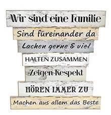 Holzschild Vintage Stil Mit Sprüchen Wir Sind Eine Familie Familien Regeln Family Rules Leben Lieben Lachen Zuhause Maße 32 X 30 Cm