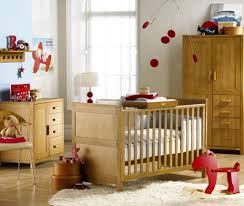 Furniture: Designer Crib Bumpers With Red Circle Crib Mobile And Red Wooden  Horse Toy And