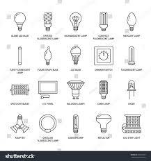 Kinds Of Led Light Bulbs Light Bulbs Flat Line Icons Led Stock Vector Royalty Free