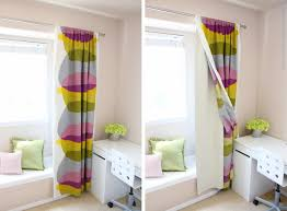 enchanting ikea window treatments with colorful jcpenny curtains and cozy  bench cushions