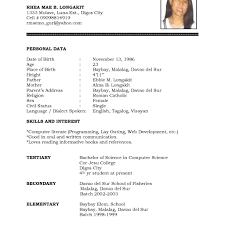 Resume Format 2017 Personal Resume Format Fred Resumes 33