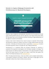 Solution to capture webpage screenshot with html2 canvas.js for backe…