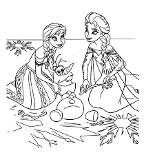 Kleurplaat Olaf De Sneeuwman Anna En Elsa Kleurplaatjenl