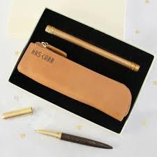 personalised pencil case pen writing set luxury leather hope house press