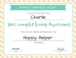 Printable Awards And Certificates Family Awards Night Giving Children A Sense Of Belonging