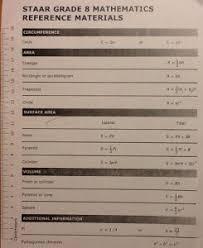 Staar Formula Chart 8th Grade Staar Math Reference Chart Www Bedowntowndaytona Com
