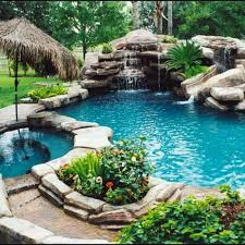 I Found Gorgeous Rock Pool With Waterfall Hot Tub And Slide On