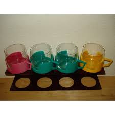 send to a friend vintage soviet russian tea coffee glass cups with plastic cup holder set
