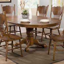 Oval Kitchen Table Pedestal Coaster Brooks Oak Finish Round Oval Dining Table With Single