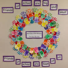 Friendship Chart For School Sweet Handprint Friendship Wreath Great Activity For The