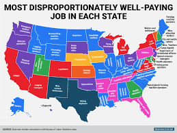 high paying jobs state map business insider disproportionately high paying job state map