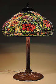 1960s tiffany lamp reion with fl leaded glass shade